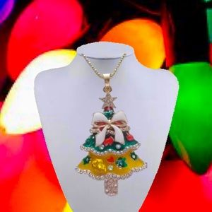 CHRISTMAS TREE NECKLACE MULTI COLOR BOW